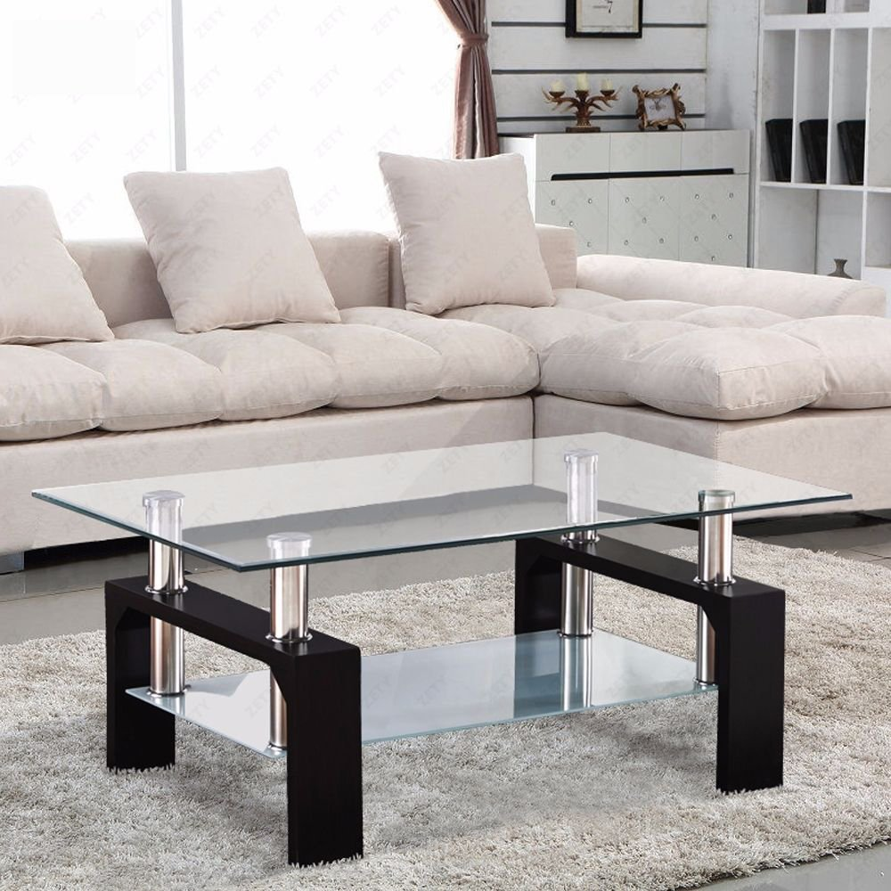 Amazon VIRREA Glass Coffee Table Shelf Chrome Base Living Room Furniture Rectangular Black Kitchen Dining