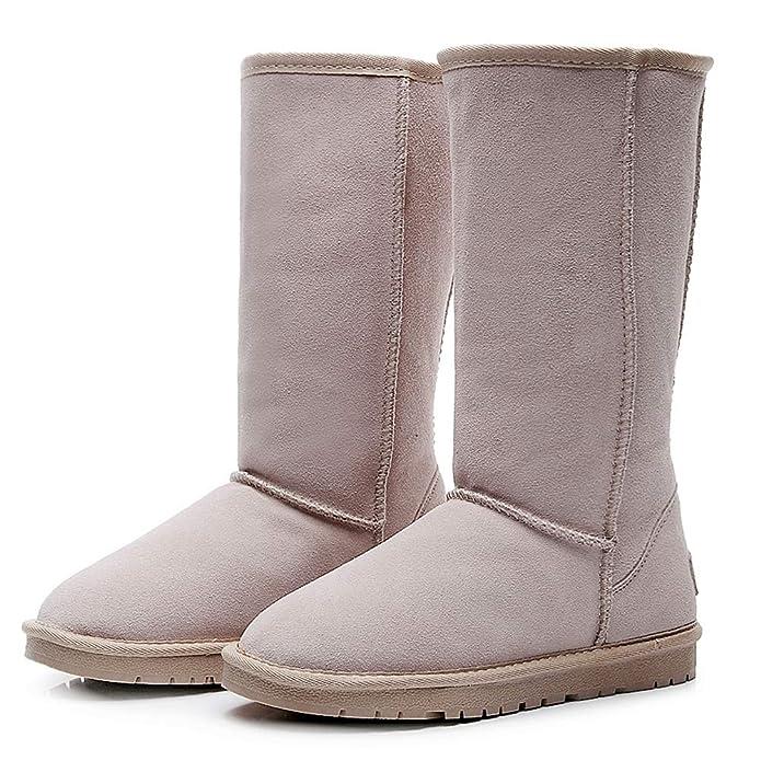 Shenn Donna Slip On invernale basso ginocchio caldo ad alta pelle scamosciata Neve Stivali
