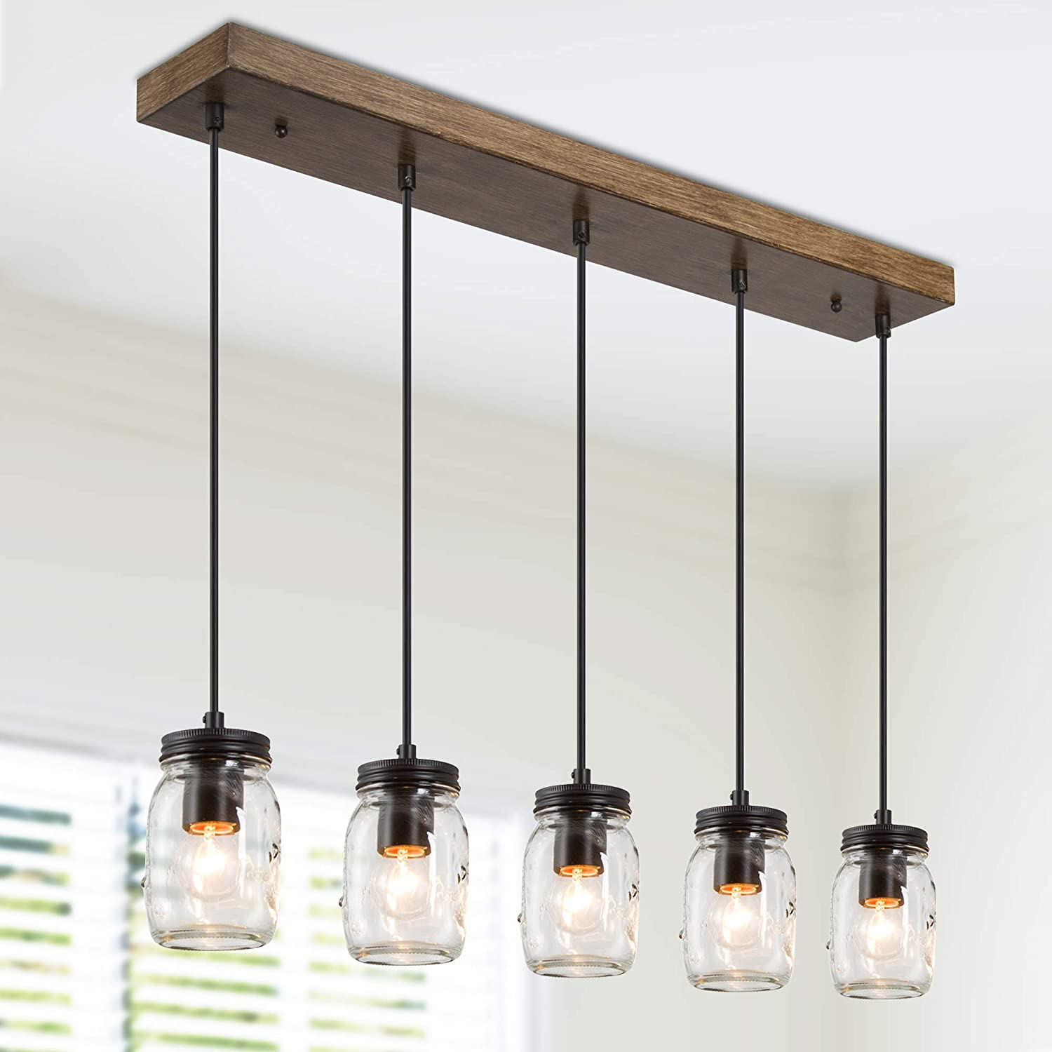 Dining Room Lighting Fixtures Hanging, Mason Jar Lights, 5-Light Pendant Lighting for Kitchen Island with Faux Wood Finish, Brown