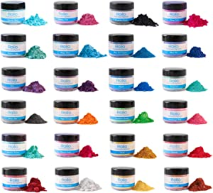 Mica Powder - 24 Color - Epoxy Resin Color Pigment Powder for Slime, Nail Polish, Makeup, Epoxy Resin, Candle Making, Bath Bombs, Soap Colorant, Paint - Mica Powder Cosmetic Grade