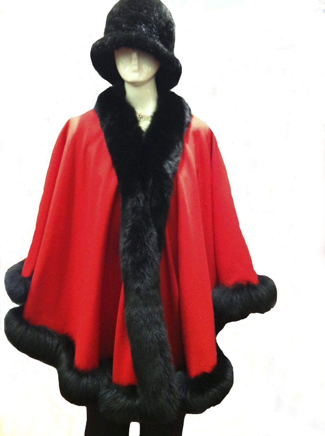 Cashmere Pashmina Group: Cashmere Cape with genuine Fox Fur Trim all around (Lipstick Red/ Black) by Cashmere Pashmina Group (Image #4)