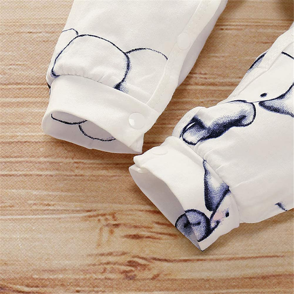 Xuefoo Newborn Baby Boy Girl Romper Little Elephant Print Long-Sleeve Jumpsuit One-Pieces Clothes