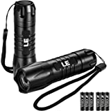 LE Portable LED Flashlight IP65 Waterproof Mini Tactical Torch Super Bright Batteries Included (2 packs)