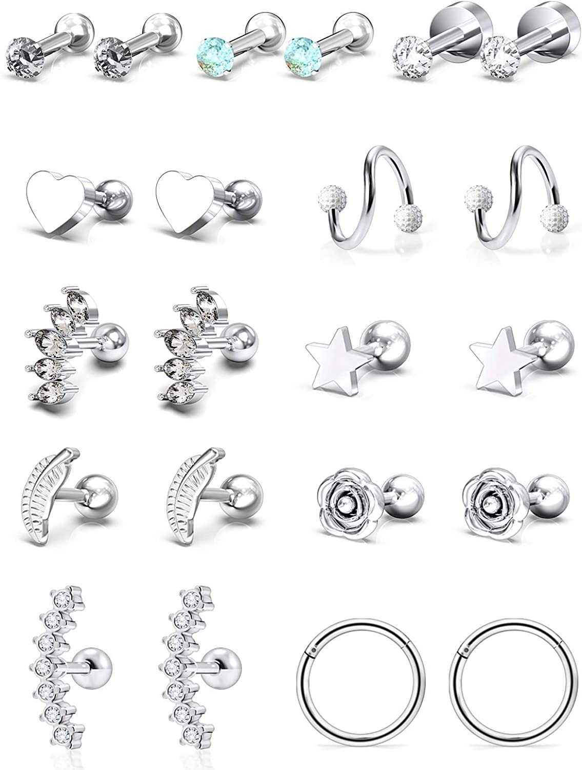Yaalozei 3Pairs 18G 316L Stainless Steel Stud Earrings for Women Cartiliage Earring Tragus Helix Piercing Created-Opal 3MM