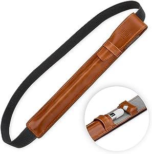 "StilGut Genuine Leather Pencil Holder for Apple Pencil & iPad Pro 12.9"" 2015/2017/2018, Flip Cover Case with Pocket for Lightning Adapter, Cognac Brown"