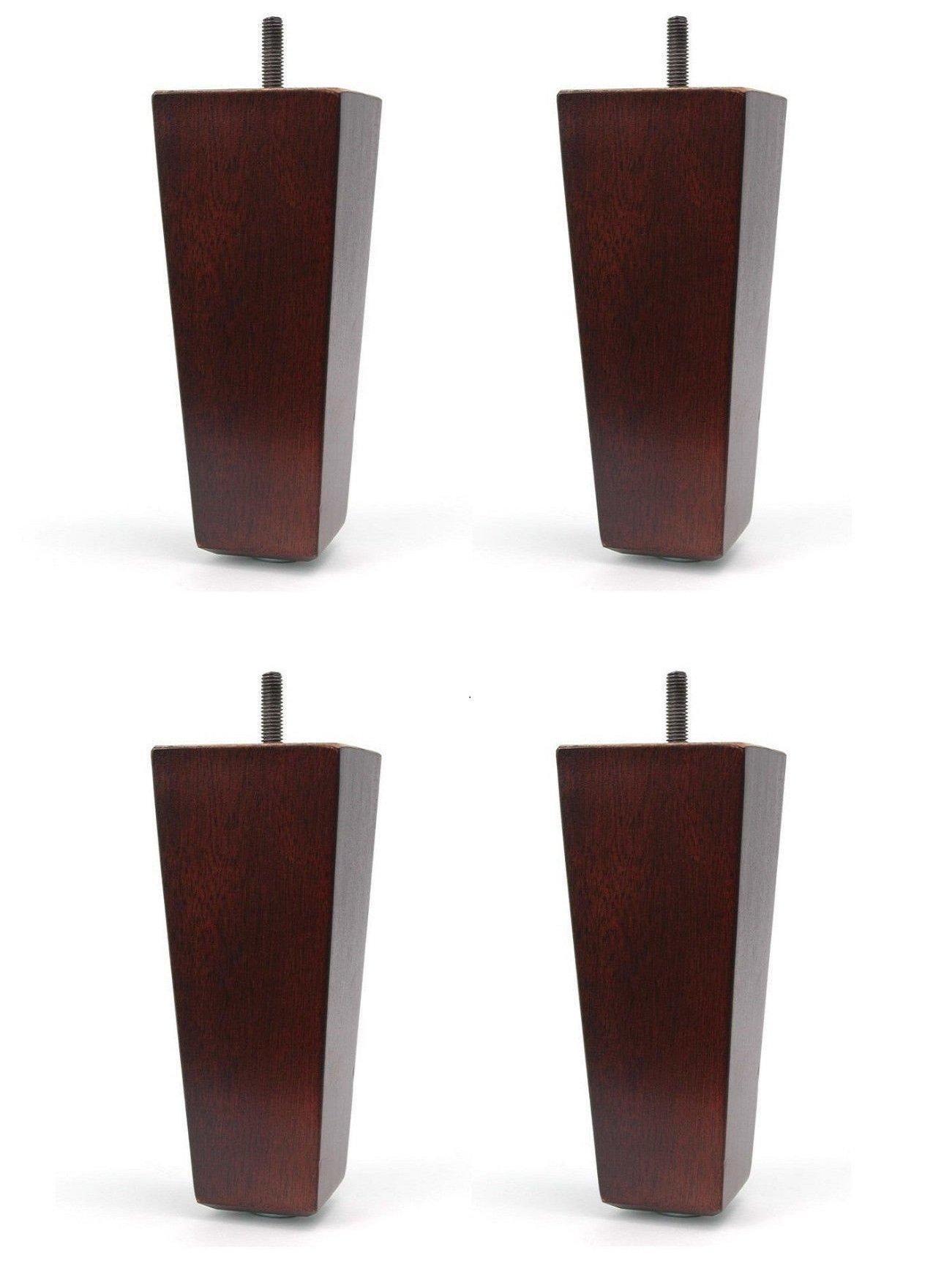 7'' Wood Tapered Pyramid Dark Walnut Sofa / Chair / Ottoman [5/16'' Bolt] Replacement Legs - Set of 4