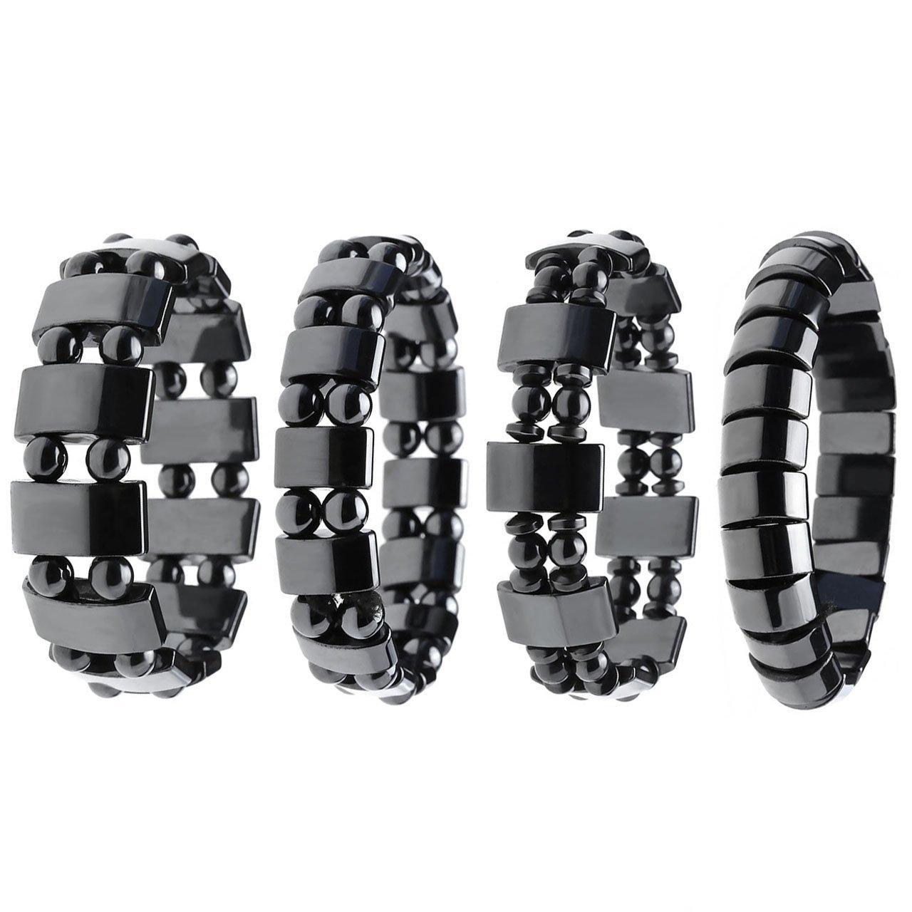 Top Plaza 4pcs/set Men's Women's Hematite Metal Magnetic Therapy Bracelets