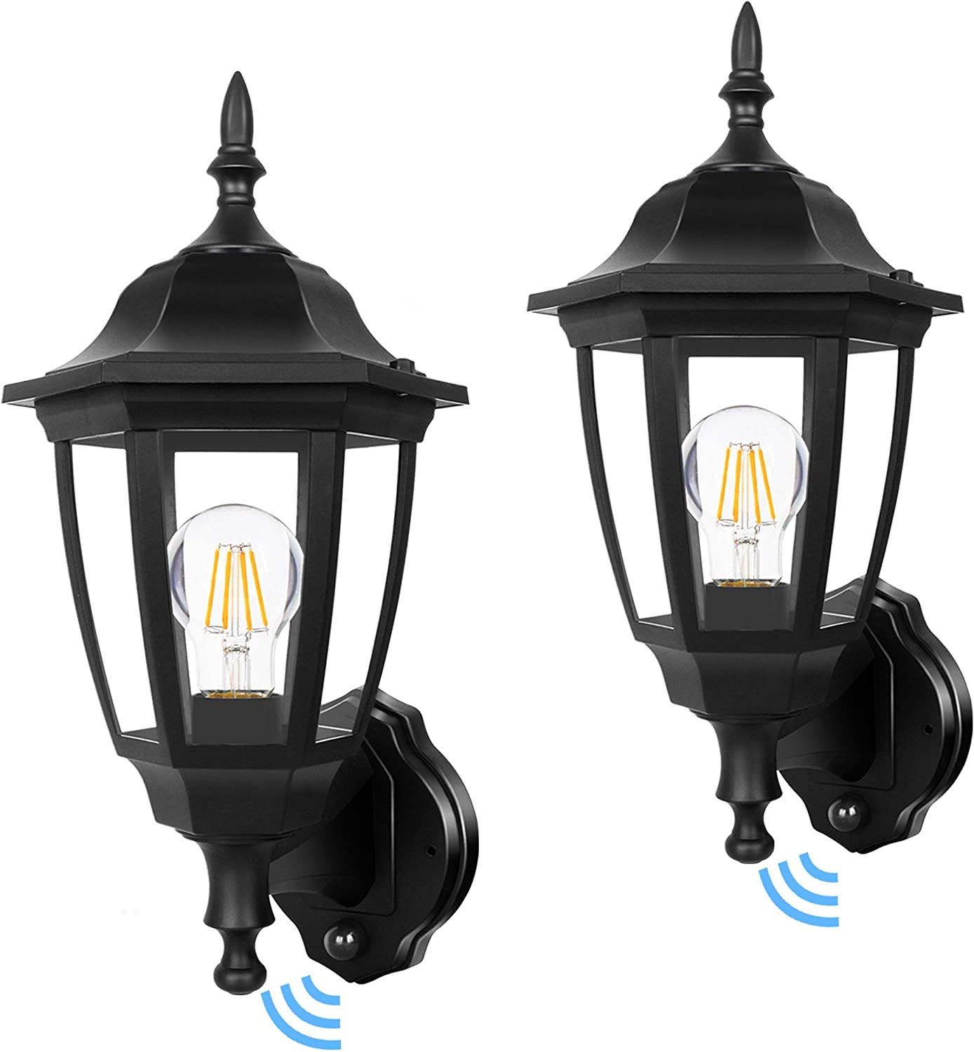 Fudesy Outdoor Dusk To Dawn Led Wall Lantern Plastic Material Anti Corrosion Black Porch Sensor Light With Led Edison Filament Bulb Exterior Mount Lanterns For Porch Garage 2 Pack Fds2542epsb