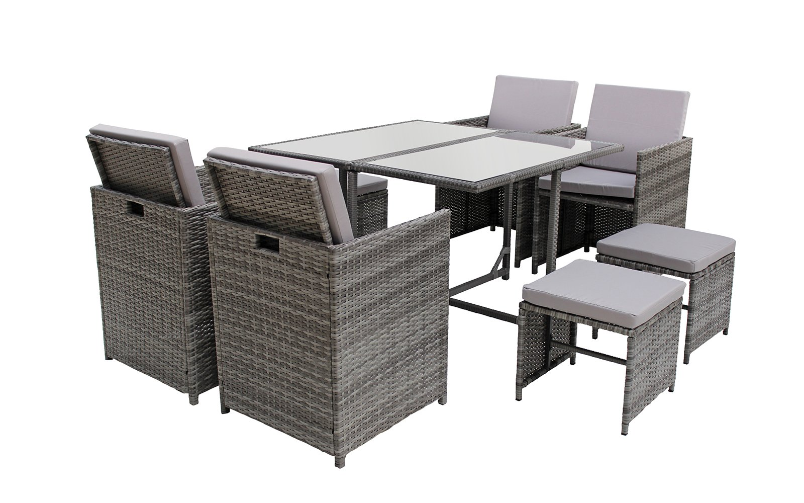 Modern 8 Piece Space Saving Outdoor Furniture Dining Set, Patio Rattan Table and Chairs Set (Grey/Grey) by Sofamania (Image #3)