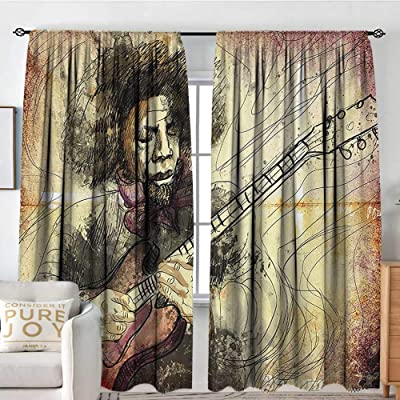 "Petpany Rod Pocket Blackout Curtain Jazz Music,Guitar Virtuoso Hand Drawn Style Illustration of a Guitar Player Musician,Brown Beige Black,Decor/Room Darkening Window Curtains 84""x100"": Home & Kitchen"