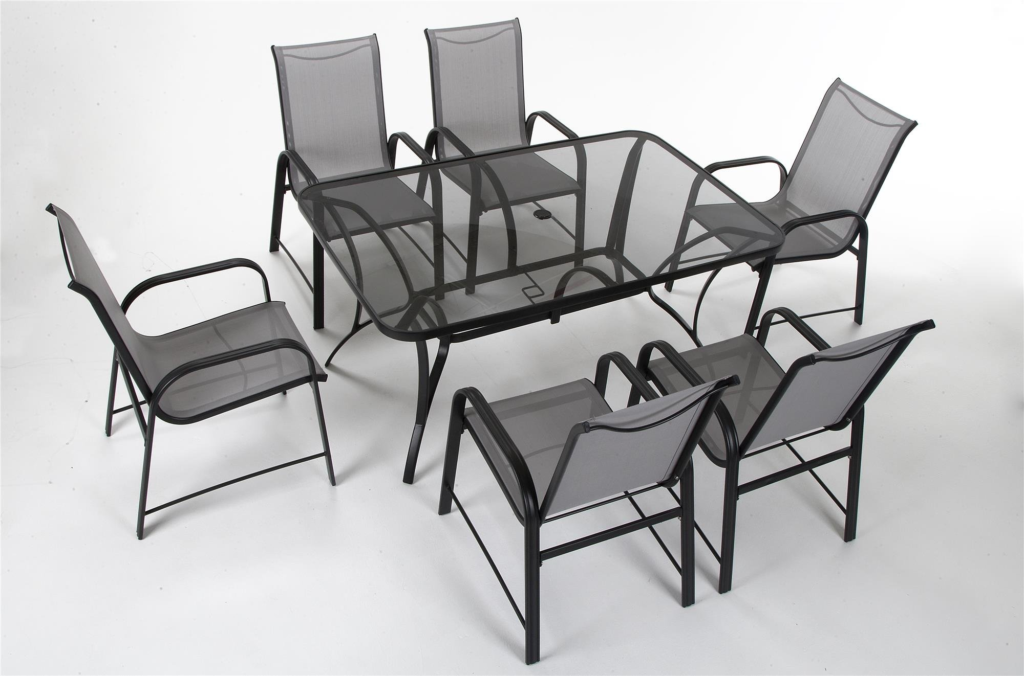 """COSCO 88645GLGE Outdoor Living Paloma Steel Patio Dining Chairs, 6-Pack, Light/Drak Gray - Cosco's Paloma collection outdoor dining chairs feature an all weather sling and a durable weather resistant outdoor powder coated steel frame The dining chairs can be paired with the Paloma outdoor dining table or can match existing patio furniture Dimensions are: dining chairs 21.41"""" L x 26.57"""" W x 27.4"""" H - patio-furniture, dining-sets-patio-funiture, patio - 713jXPFr%2BiL -"""
