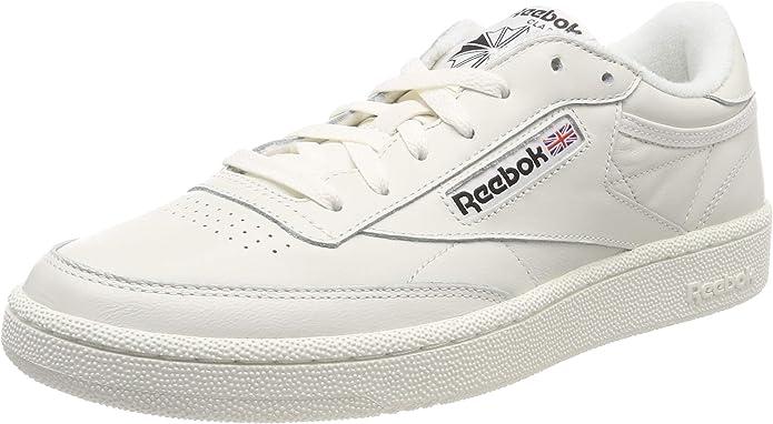 Reebok Club C 85 Sneakers Fitnessschuhe Herren Weiß mit Schwarzer Schrift