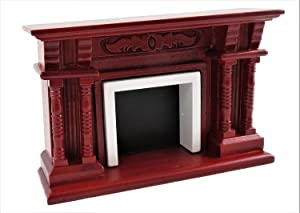 Melody Jane Dollhouse Victorian Mahogany Double Twin Pillar Fireplace 1:12 Scale Furniture
