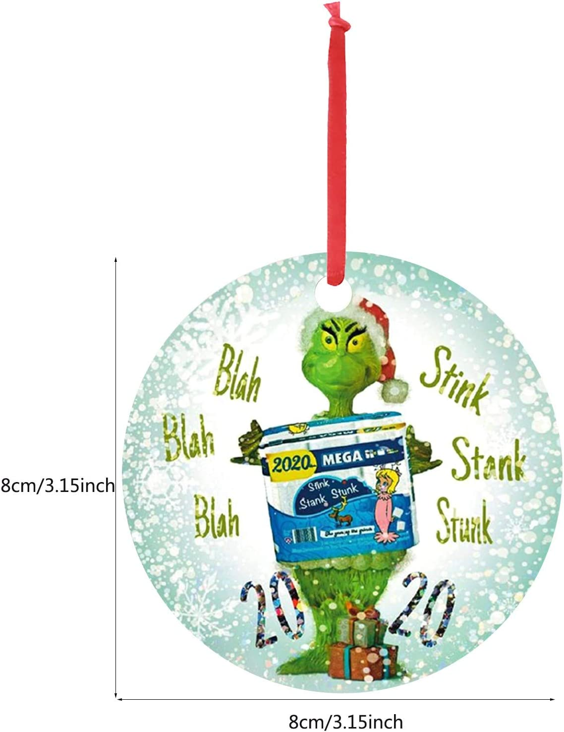 2020 Grinch Christmas Hanging with Mask 2020 Stink Stank Stunk Ornament Christmas Tree Decoration Plexiglass Gift Presents for Friends Family