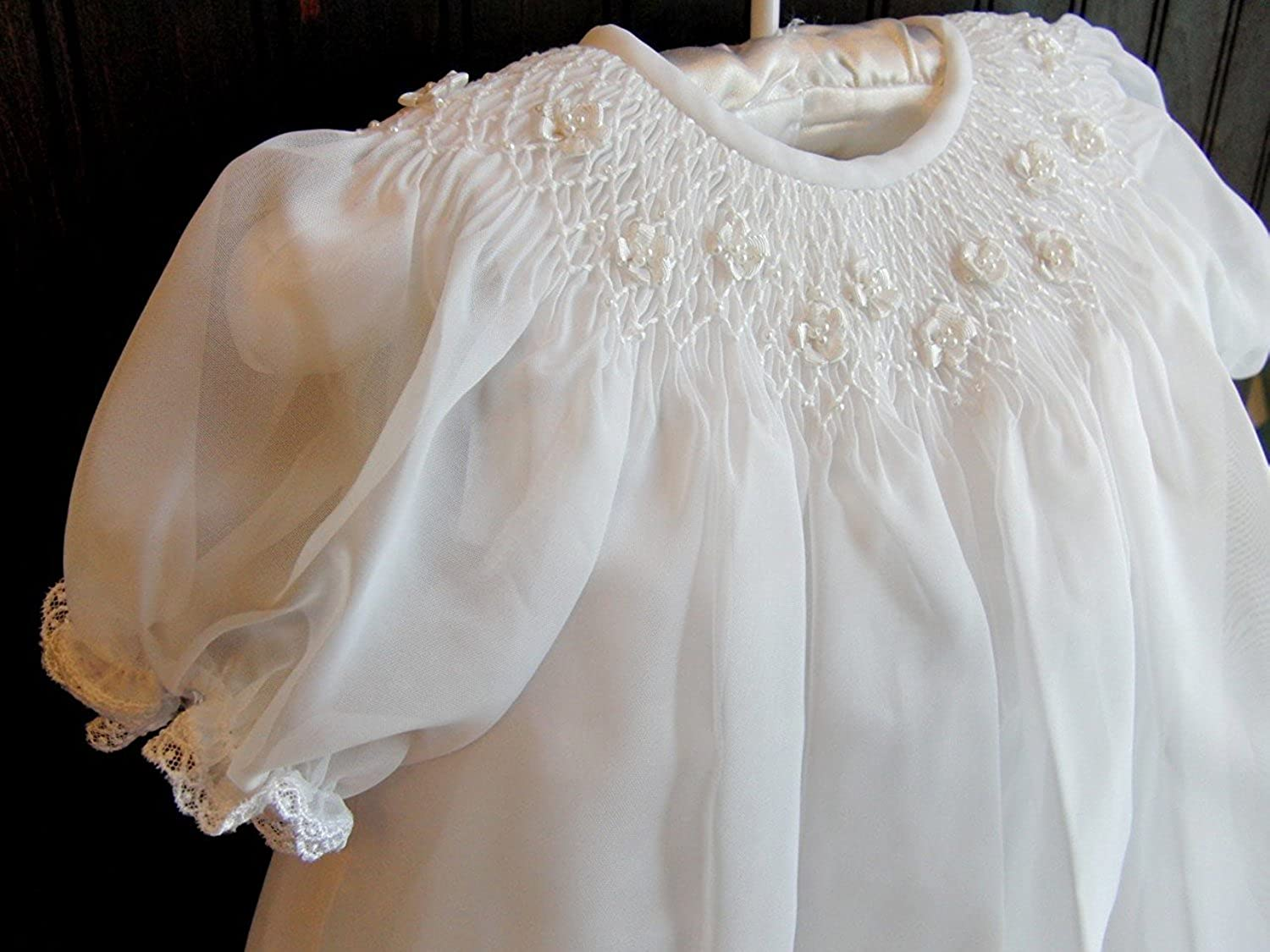 Kelaixiang Jewel White Baby Christening Outfit Long Robe Applique