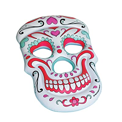 Inflatable White and Pink Sugar Skull Swimming Pool Float, 62-Inch: Toys & Games