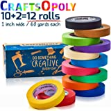 #1 CraftsOpoly Colored Paper Masking Painters Packing Tape [10+2 Bonus = 12 Rolls of 60.1 Yds -Assorted Colors] Fun DIY Art Supplies For Kids, Adults, Artists Crafts Moving, Office and Decorating