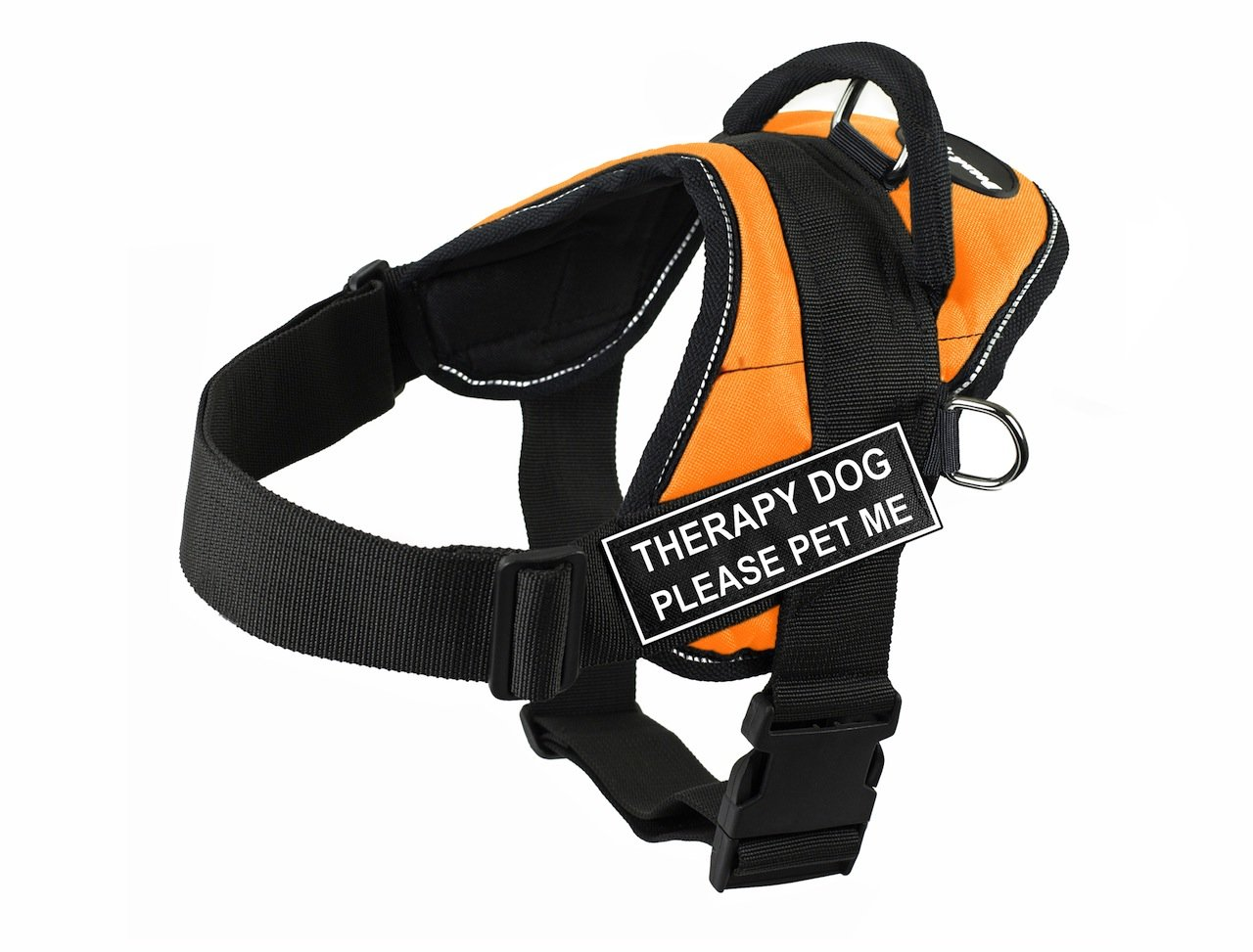 Dean & Tyler DT Fun Therapy Dog Please Pet Me  Harness with Reflective Trim, XX-Small, orange