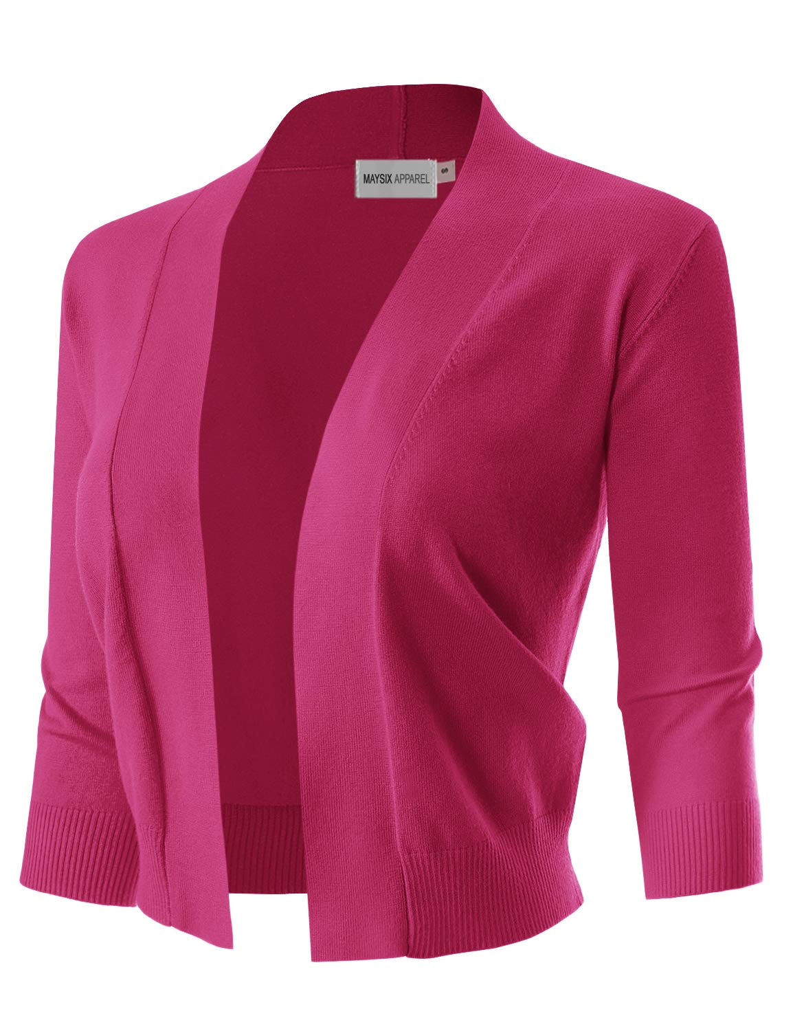 MAYSIX APPAREL 3/4 Sleeve Solid Open Bolero Cropped Cardigan for Women Fuchsia L