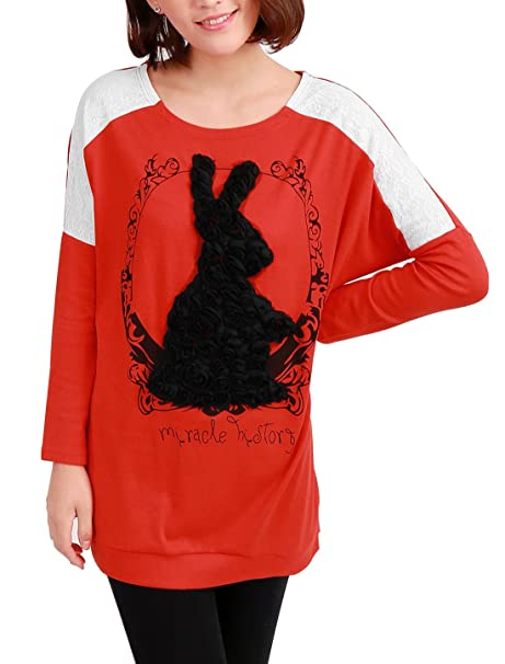 Pantalones de deporte para mujer diseño de conejo Allegra K cortinas de encaje de decoración con
