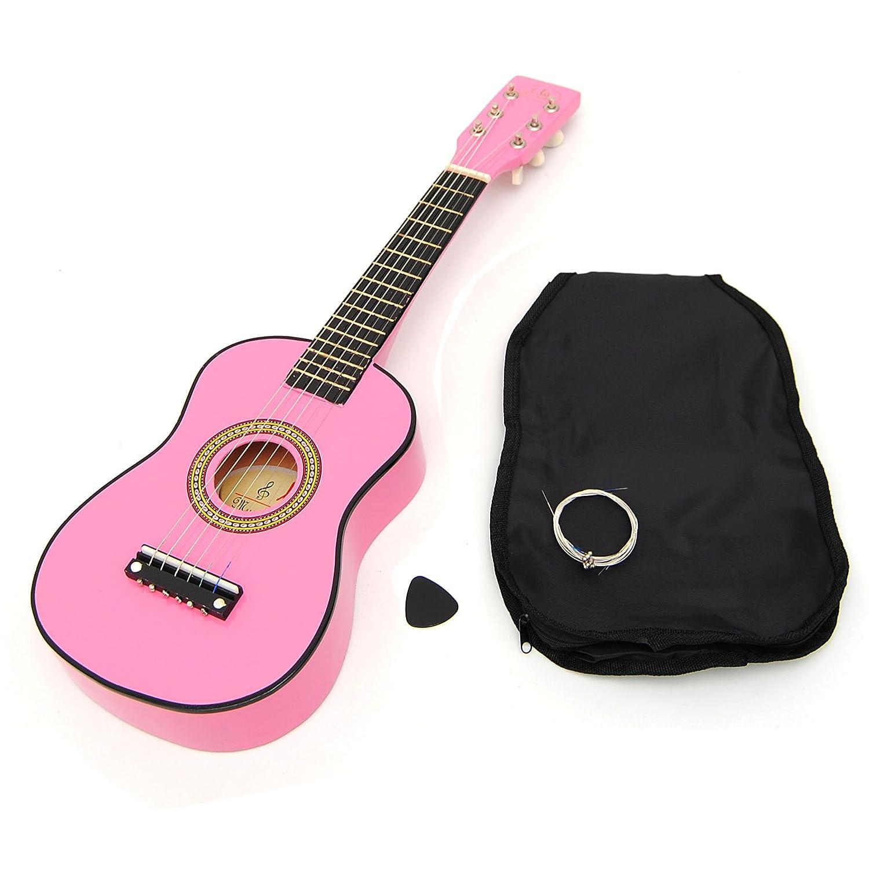 Ts-ideen Kinder Gitarre Spielzeuggitarre aus Holz 59 cm mit Tasche und Saiten neu rosa 5245