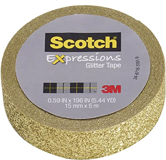 Pink and Blue Glitter Collection C1017-3-P2 3 rolls//pk Scotch Expressions Washi Tape Multi Pack Gold