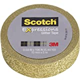 "Scotch Expressions Glitter Tape, 0.59 "" x 196 "", Gold, 6 Rolls (C514-GLD)"