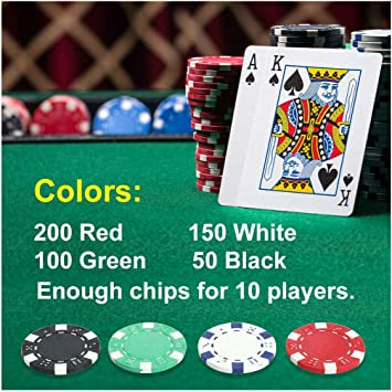 500PCS Poker Chips Set Table Game Pro W//2 Cards 5 Dices+Aluminum Carry Case