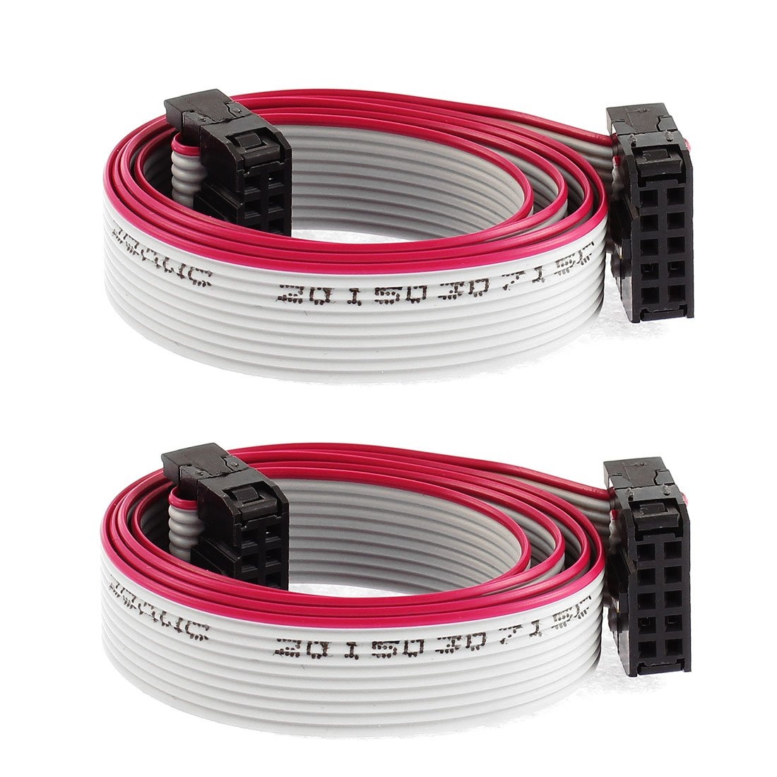 Uxcell IDC Socket 10 Pins Flat Ribbon Cable, 10 Wire, 50 cm Length, 2 Pieces