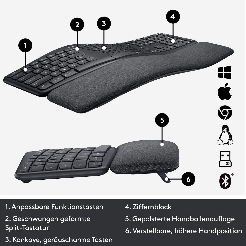 Logitech ERGO K860 Teclado Inalámbrico, Disposición QWERTZ Alemán, Gris