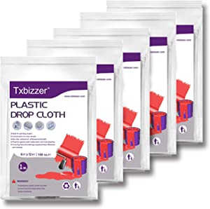 Txbizzer 5 Piece 1 Mil Heavy Duty Painter Plastic Drop Cloths Sheet,Waterproof Anti-dust Furniture Cover,9x12 Feet Disposable Tarp for Painting for Couch Cover and Furniture Cover (5 Pack)
