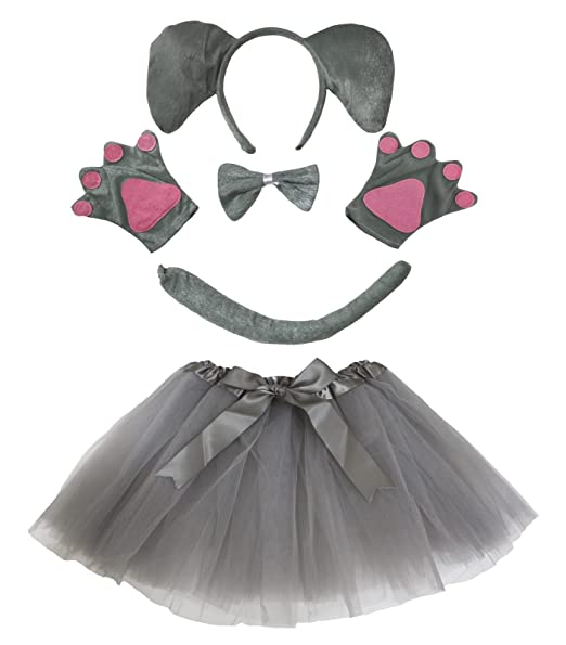 8ca2b74d8b Amazon.com: Elephant Headband Bowtie Tail Gloves Grey Tutu 5pc Girl Costume  for Party (Grey): Toys & Games