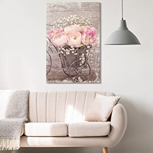 wall26 - Canvas Wall Art - Vintage Style Pink Roses and White Flowers - Giclee Print Gallery Wrap Modern Home Art Ready to Hang - 12x18 inches