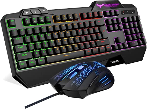 Havit Keyboard Rainbow Backlit Wired Gaming Keyboard Mouse Combo