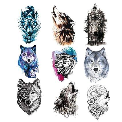 9 Piezas Tatuaje Temporal de Lobo Para Mujeres Hombres,Etiqueta ...