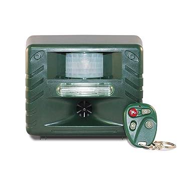 alpek mando a distancia ultrasónico detector de movimiento al aire libre Animal Control Pest Repeller.