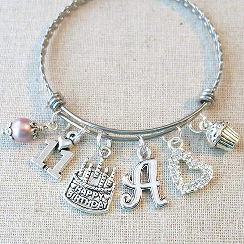 11th BIRTHDAY GIRL Birthday Charm Bracelet Granddaughter Daughter Gift Idea Girls Eleventh PERSONALIZED 11 Year Old Girl