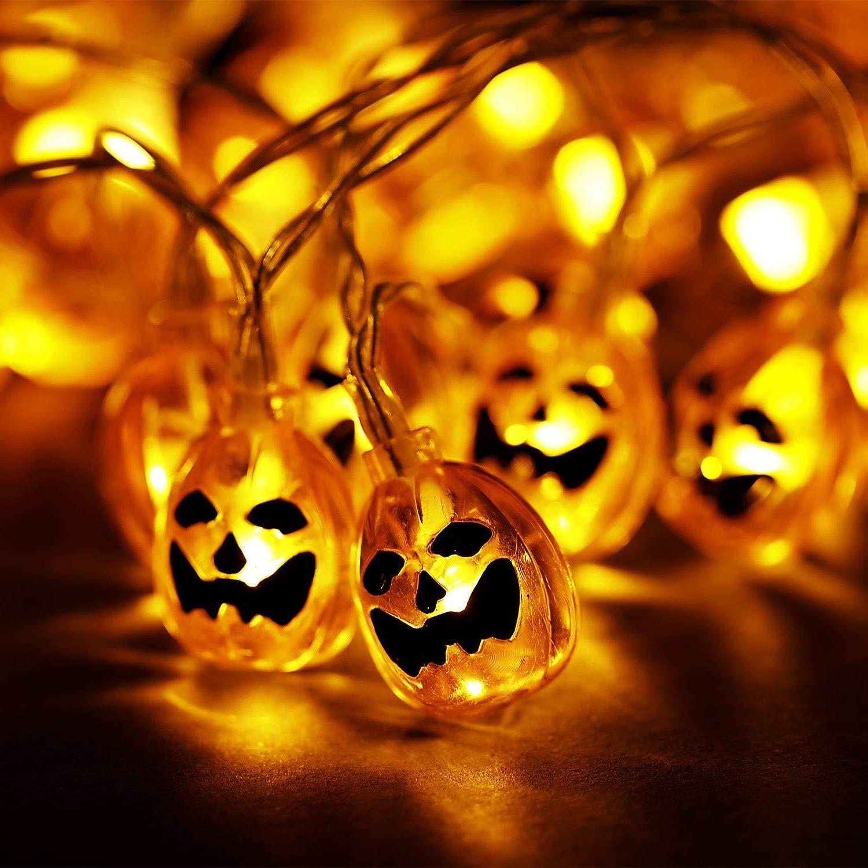 20 LED 3D Pumpkin Halloween indoor 3M Battery party fairy novelty String Lights fancy dress (1) Best Artificial