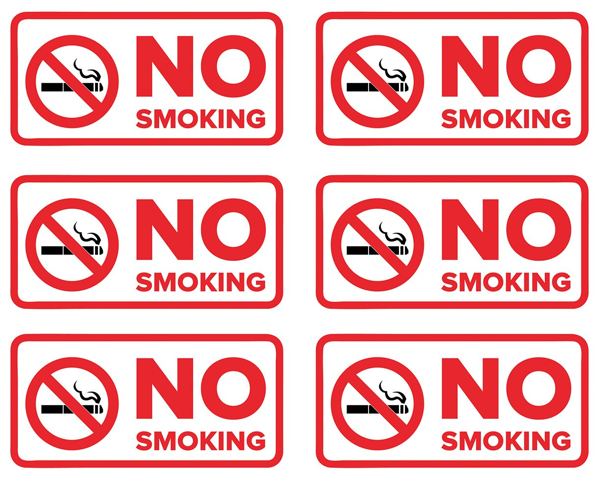 No Smoking Stickers   Decals for Indoor or Outdoor Use 4-inch by 2-inch (Pack of 6) Sutter Signs