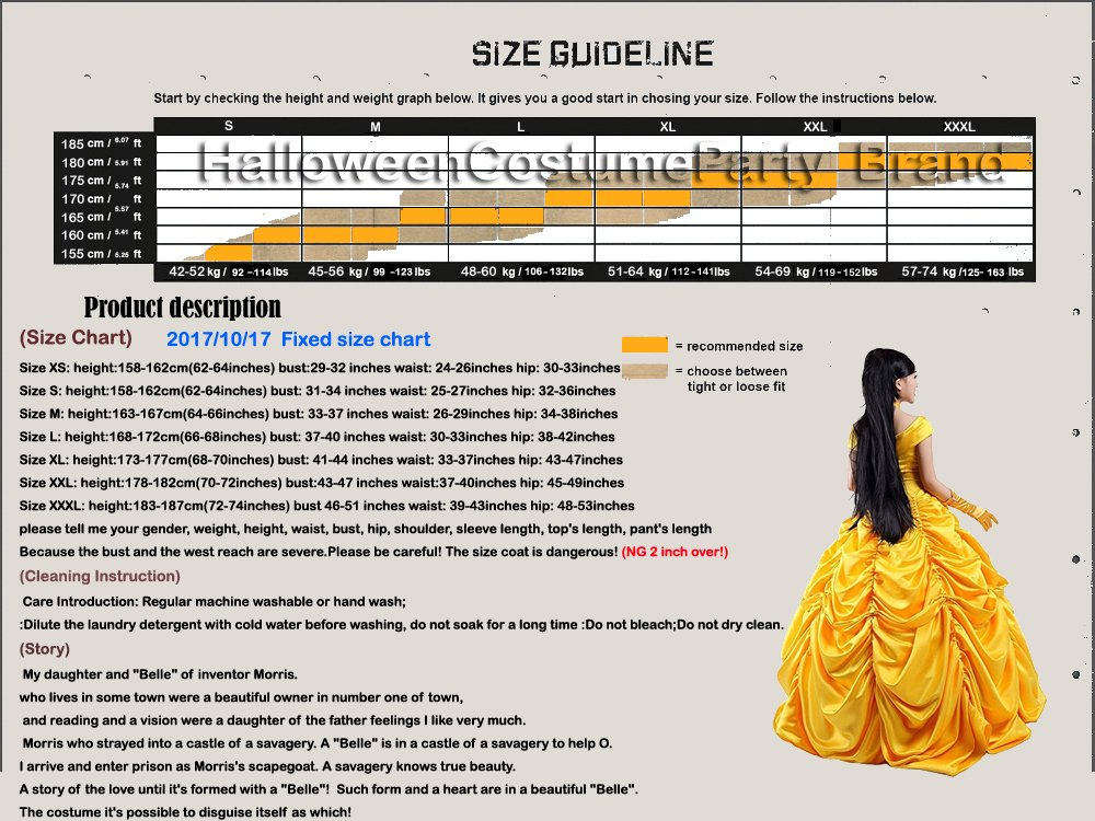 HalloweenCostumeParty Beauty and Beast Belle Costume Dress For Adults Woman (L) by HalloweenCostumeParty (Image #7)