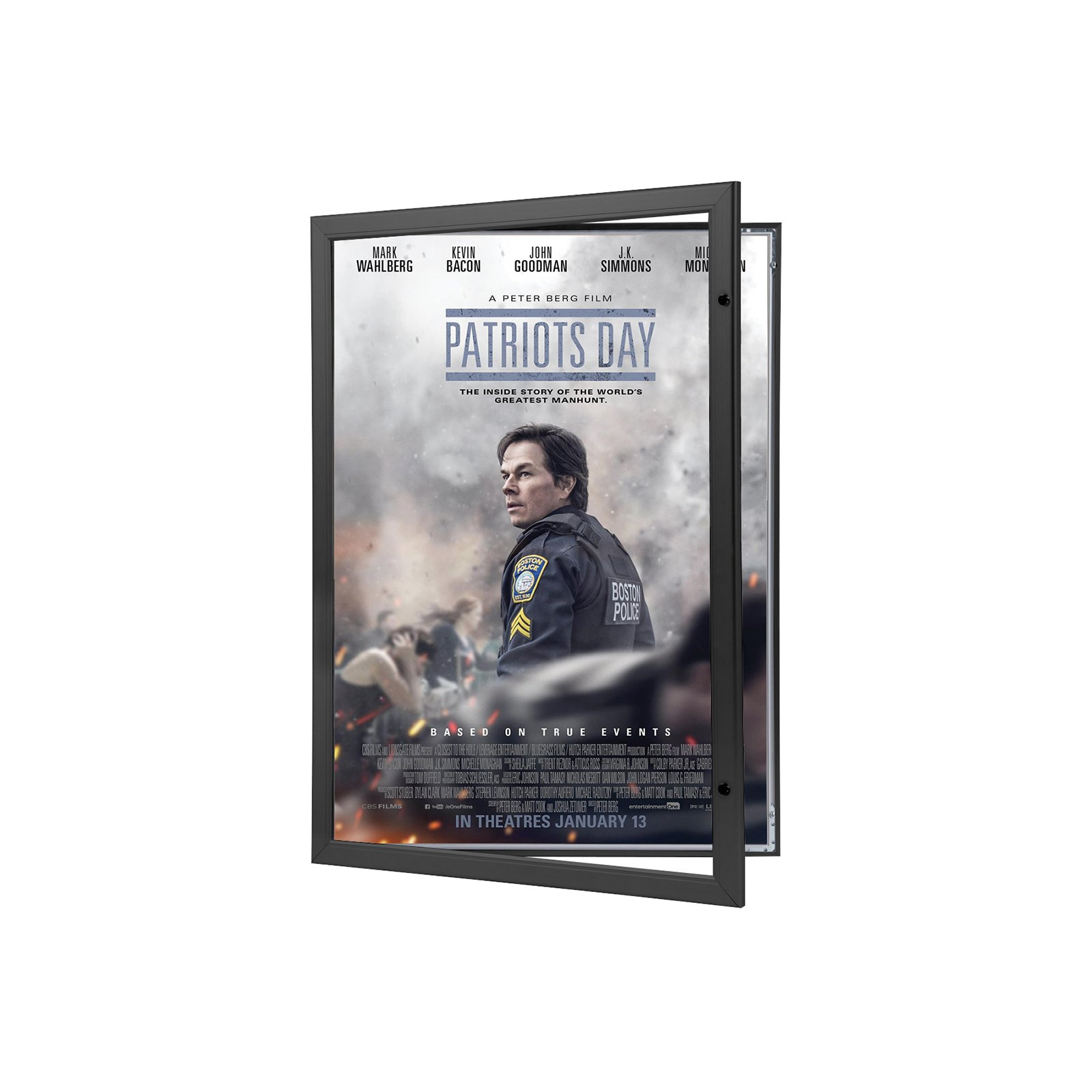 Movie Poster Case 27x40 Inches, Black SnapeZo 1.8'' Aluminum Profile, Locking Poster or Menu Case, Lockable Case, Wall Mounting, Professional Series for One Sheet Movie Posters