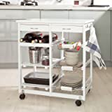SoBuy Lengthen Size Solid Wood Kitchen Trolley Cart with Shelves & Drawer, Color: White, FKW04-W
