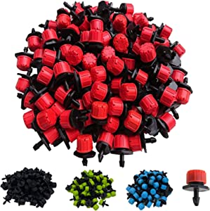 HOINCO Anti-Clogging Emitter Drippers,200PCS 360 Degrees Adjustable Irrigation Drippers Sprinklers Heads 1/4 Inch Drip Irrigation Nozzle Heads Emitter for Gardens and Meadows(Red, Blue, Green, Black)