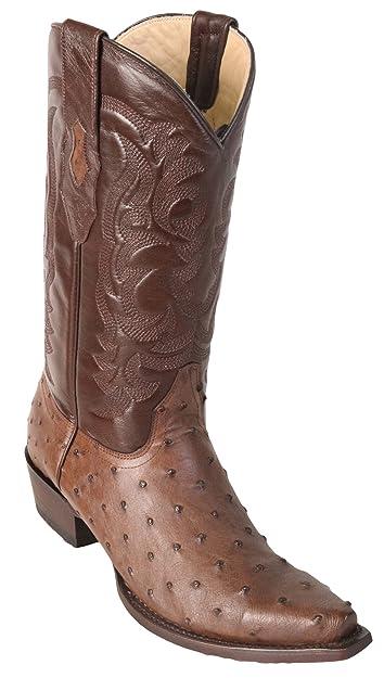 033003ed452 Amazon.com | Men's Sinp Toe Genuine Leather Ostrich Skin Western ...