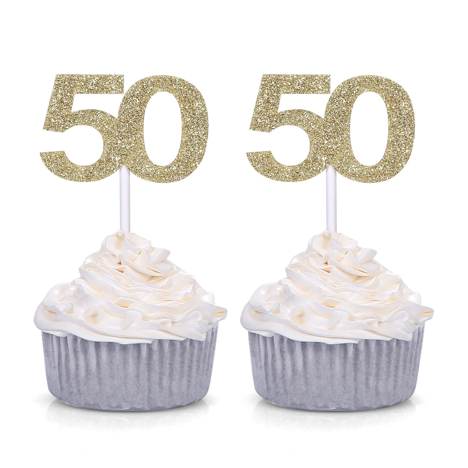 Details About Giuffi Set Of 24 Golden Number 50 Cupcake Toppers 50th Birthday Celebrating