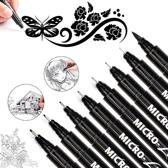 Black Precision Micro-Line Pens Zanskar Waterproof Archival Ink Drawing Pens for Office Document Designing Technical Sketching Anime Artist Illustration Scrapbooking Kids School Season Gift Set of 9