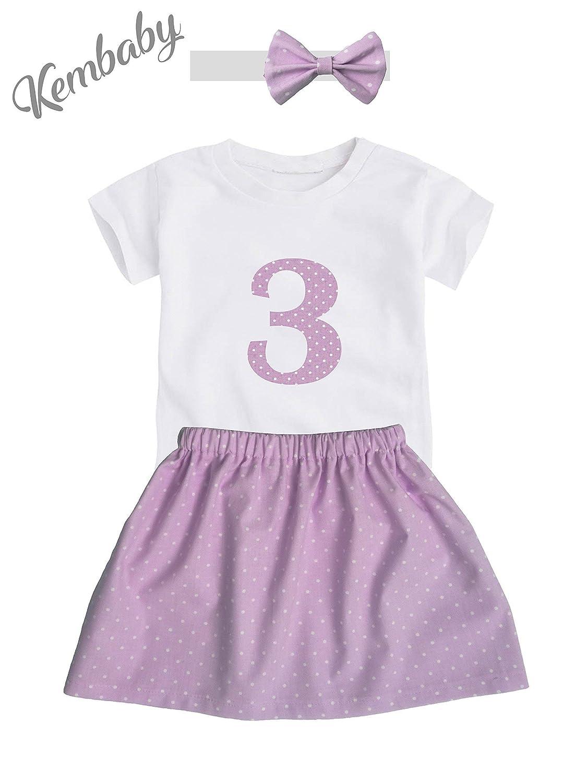 Conjunto tercer 3er cumpleañ os 3 añ os niñ as lunares rosa (Camiseta + falda + diadema)