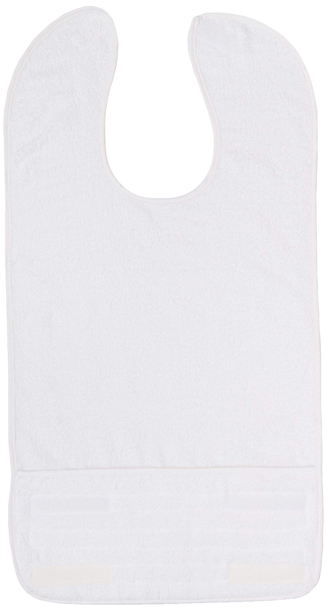Sammons Preston Terry-Cloth Food Catcher, Pack of 10, White Standard Bib, 14-1/2''W x 15''L, Lightweight Adult Bib Keeps Clothes Clean for Elderly, Disabled, and Messy Eaters, Velcro Strap Secures Bib
