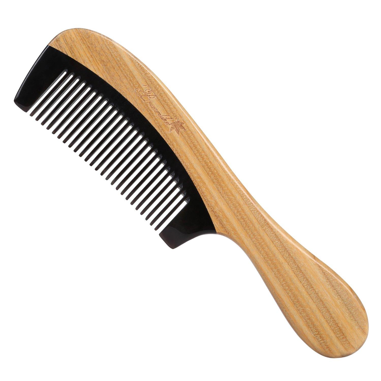 1da8adaaf41 Breezelike Hair Comb - Fine Tooth Natural Sandalwood Buffalo Horn Comb -  Detangling no Static Wooden