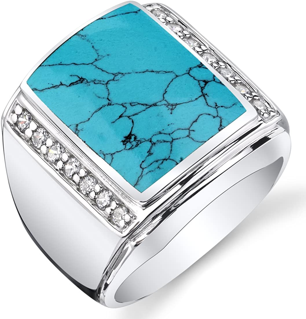 Peora Mens Simulated Turquoise Aston 925 Sterling Silver CZ Ring Sizes 8 to 13